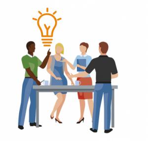 Illustratie van 4 mensen aan het brainstormen