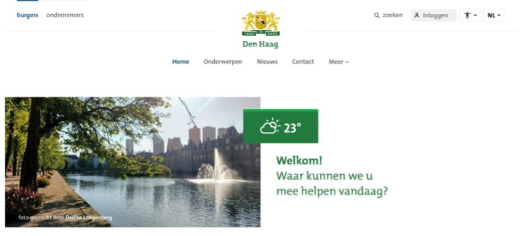 Screenshots figma-design MijnDenHaag - Bevat een decoratieve afbeelding, met tekst: Welkom! Waar kunnen we u mee helpen vandaag?