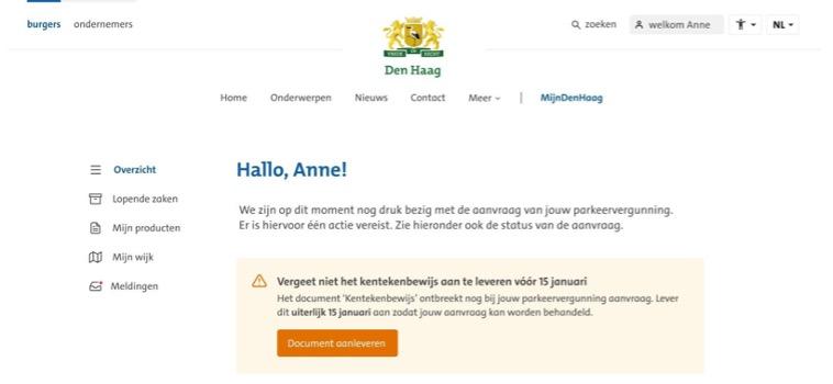Screenshot figma-design MijnDenHaag: bevat een overzicht van de gegevens van een fictief persoon